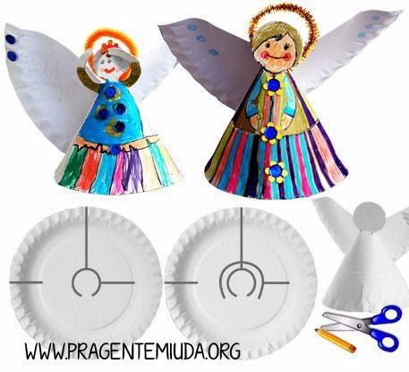 Anjinhos de natal com pratos de papel