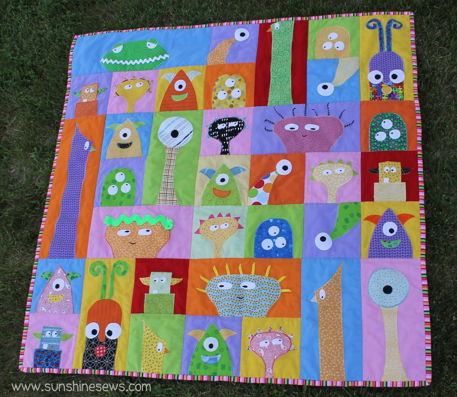 Sunshine Sews Little Monsters Quilt Completed