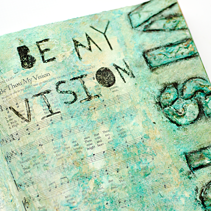 mixed media art worship art journal page inspired by Donna Downey's Inspiration Wednesday - Week 1 | Be Thou My Vision Hymn