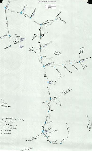 Manali to Kaza Road Map