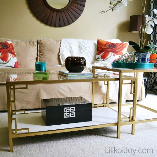 Ikea Vittsjo Coffee Table: Gold + White Greek Key Makeover