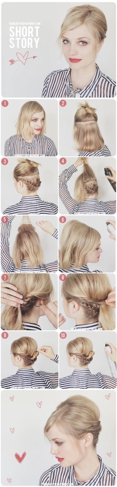Peinados fáciles para cabello corto YouTube - Recogidos Con Pelo Corto Paso A Paso