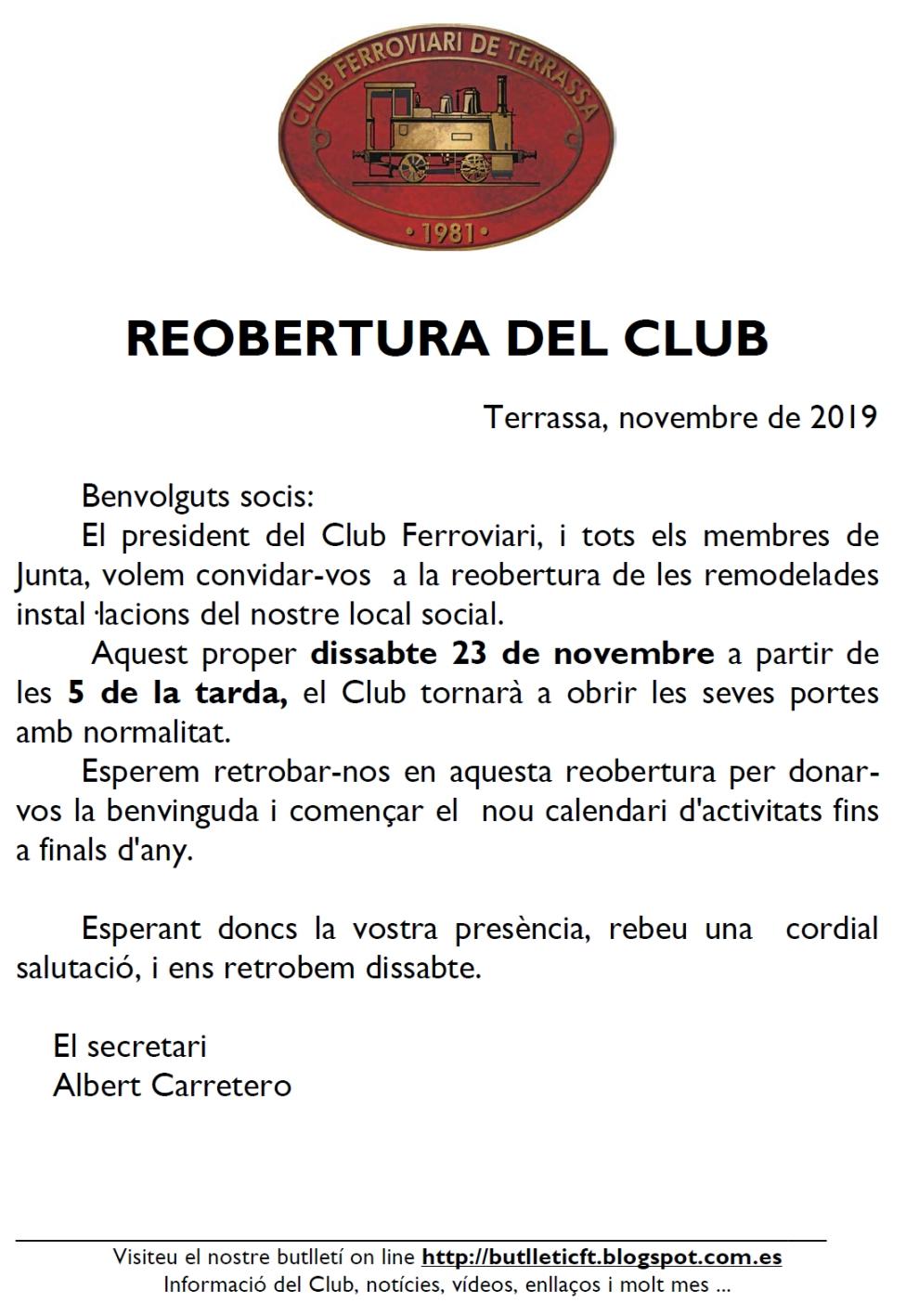 *** Reobertura del local del Club Ferroviari de Terrassa