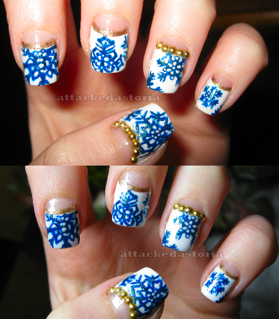 Attackedastoria Nails: Snowflake half-moons