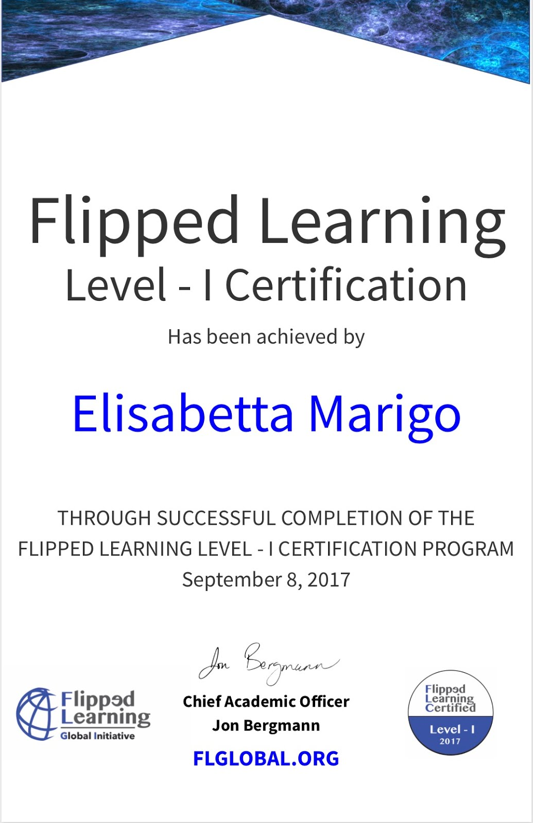 FLIPPED LEARNING CERTIFICATION LEVEL I