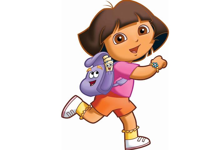 Desenho Dora a Aventureira  mochila e mapa colorido