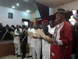 DELTA STATE GOVERNOR, SENATOR DR IFEANYI ARTHUR OKOWA, YESTERDAY 8/01/2018 SWEARS IN 23 ELECTED COUNCIL CHAIRMAN AT ASABA.