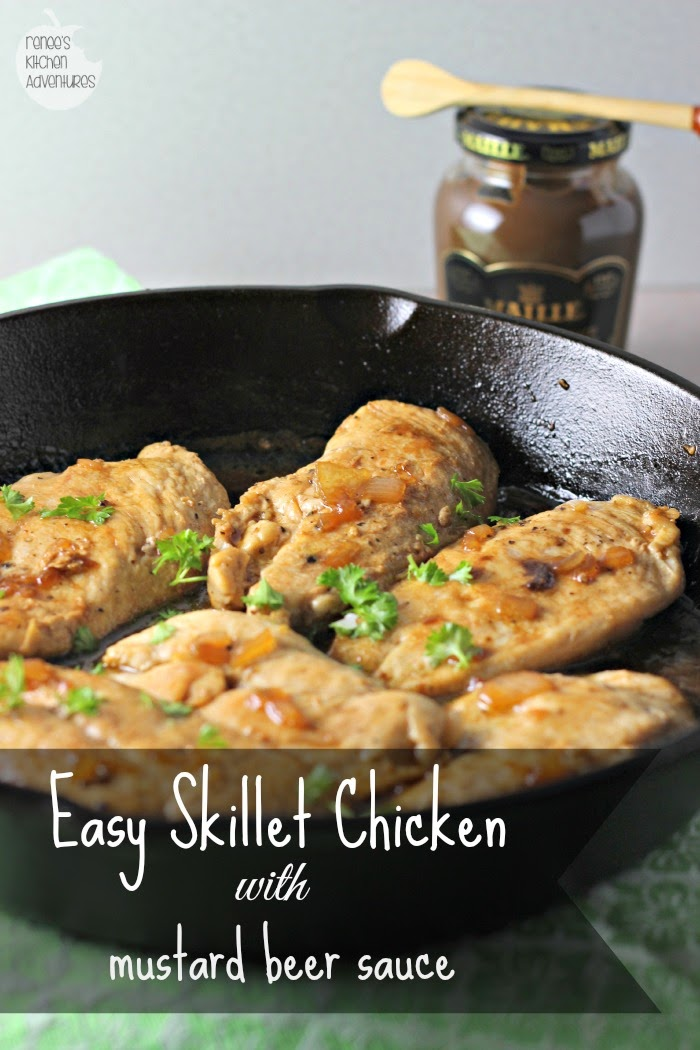 Easy Skillet Chicken with Mustard Beer Sauce: Fast, healthy meal for any day of the week!