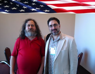 Sam Bazzi of Arcs, right, Richard Stallman (Saint IGNUcius) at WordCamp San Francisco