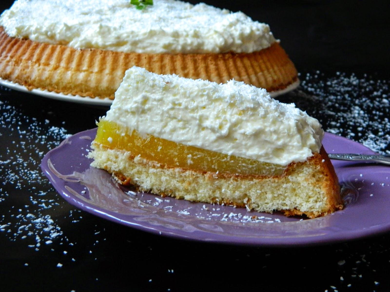 Tarta cu jeleu de mango si crema de cocos