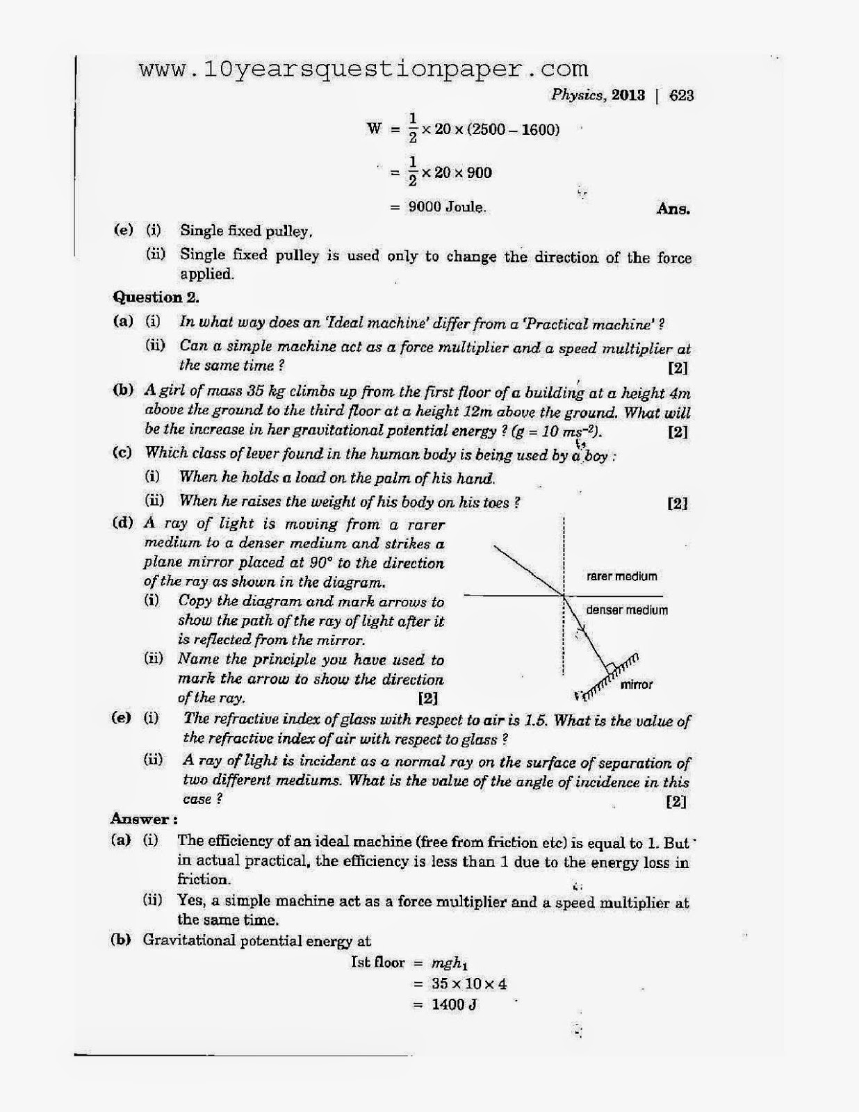 icse class 10th Physics download solved question paper 2013