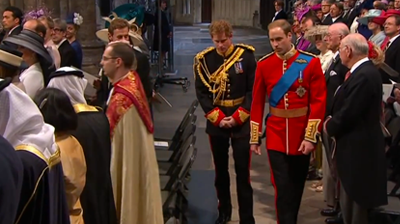 Harry and William walk back into the Abbey. YouTube 2011.