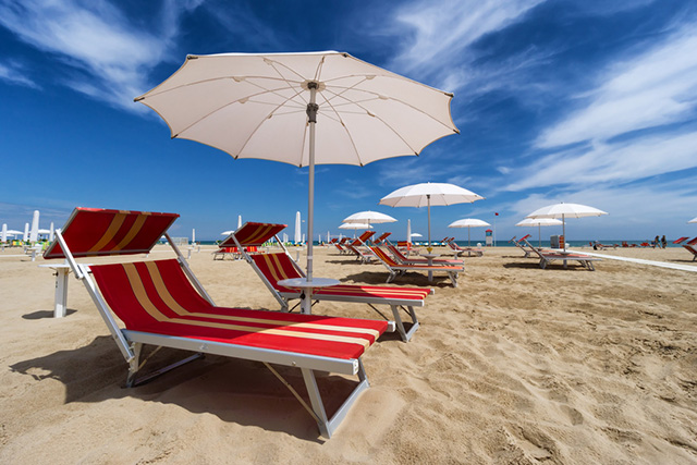 Lounging on the Beach in Rimini, Italy