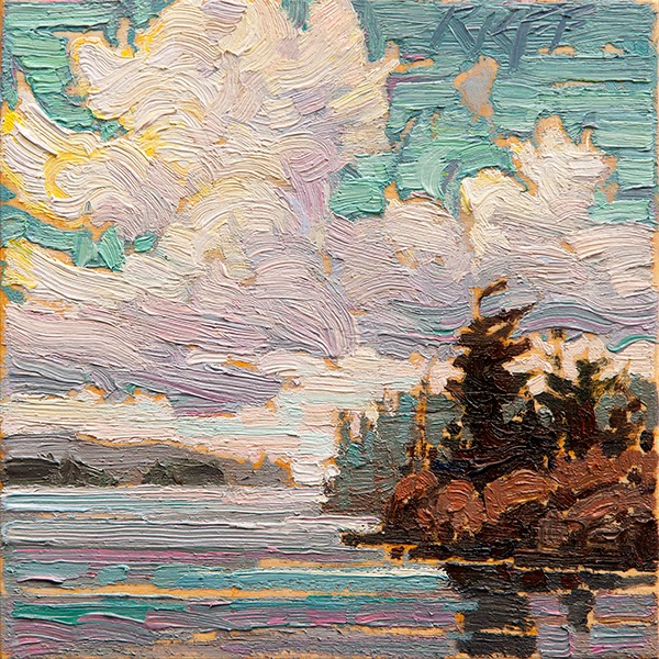Ken Faulks: Sunny Waterfront: 6x6 oil on panel