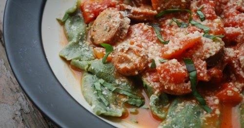 Sourdough Spinach Ravioli with Tomato Sauce