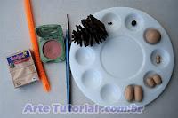 Materiais para fazer ouriço de biscuit