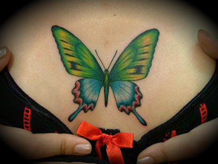colorful butterfly tattoo on the chest
