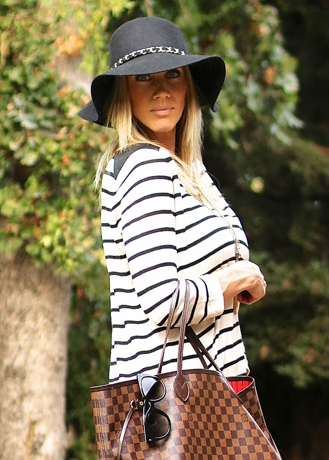 black felt hat striped sweater