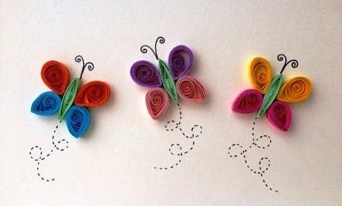 Easy paper quilling butterfly for kids art craft gift ideas for Easy quilling designs step by step