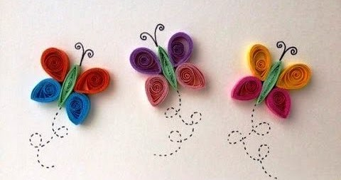 Easy paper quilling butterfly for kids art crafts projects for Paper quilling art projects