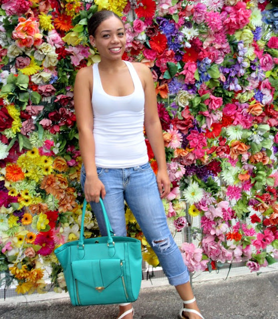 Flower Wall, Teal Bag, Casual Fashion