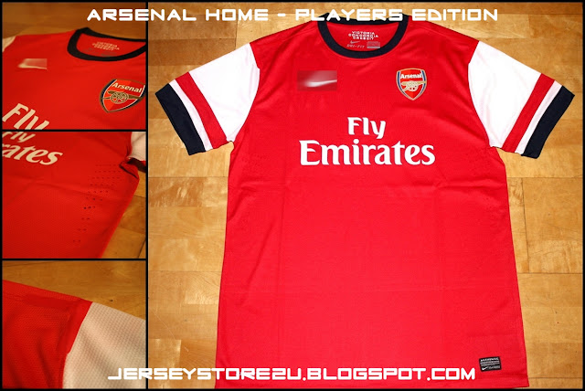 ARSENAL FC 2012 2013 HOME RED SOCCER JERSEY PLAYERS EDITION