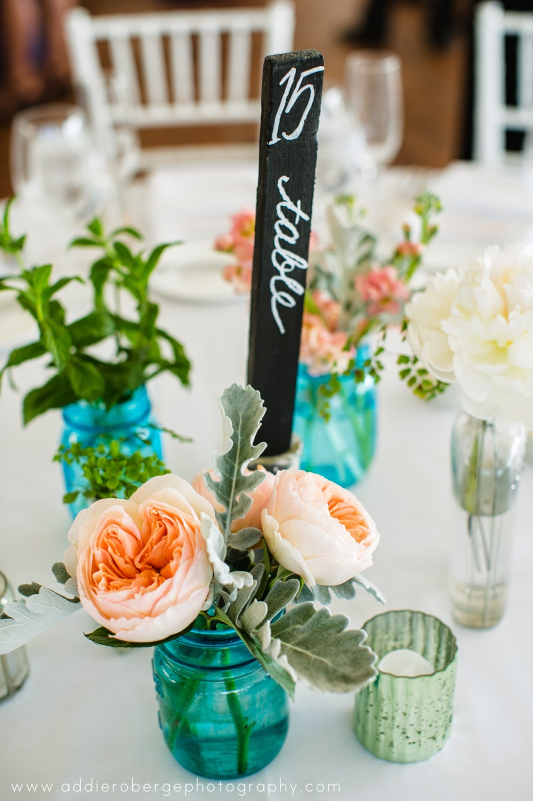 les fleurs : summer wedding : tent wedding : blue mason jars : teal and peach