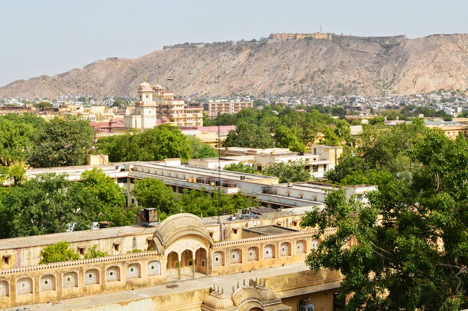 Nahargarh fort and city palace from Hawa Mahal