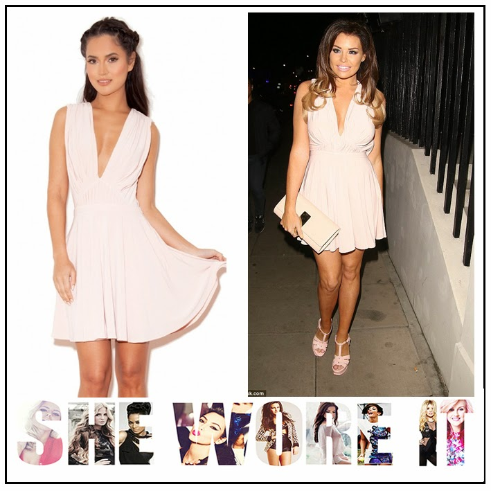 Draped, Dress, House Of CB, Jessica Wright, Light Pink, Mini Dress, Pleated, Plunge Front, Silk Jersey, Sleeveless, The Only Way Is Essex, TOWIE, Celebrity Fashion,