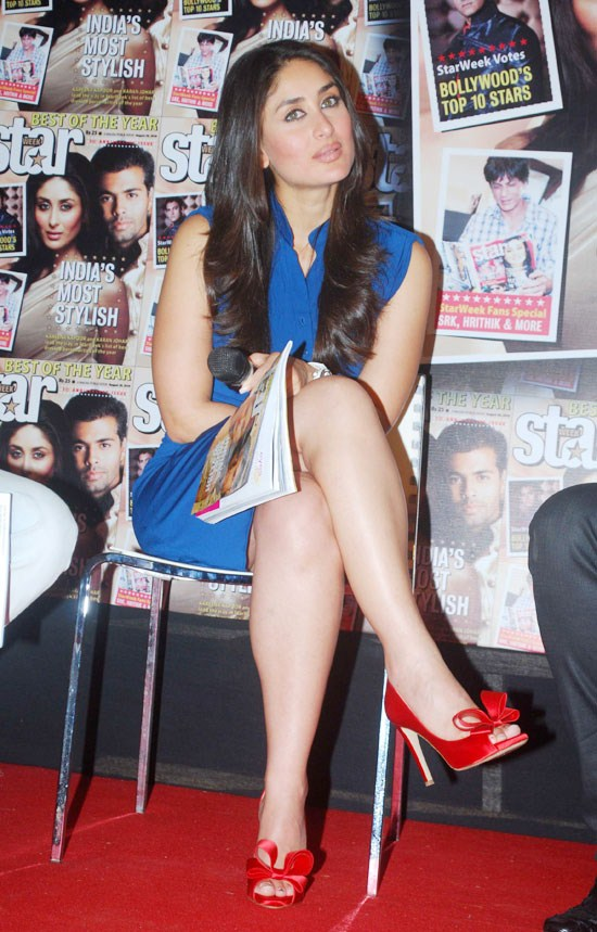 Indian Actress Kareena Kapoor Hot Thigh Legs In Blue Mini