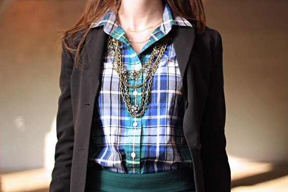 StyleSidebar - Cold Tiered Chain Link &amp; Rhinestone ball necklace, Plaid