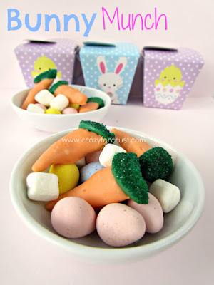 bunny munch cadbury mini eggs with bugles dipped to look like carrots in a white dish