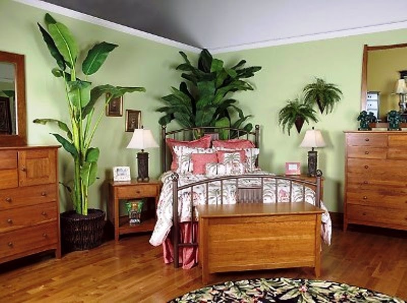 Natural Bedroom Interior With Corner Green Indoor Plants