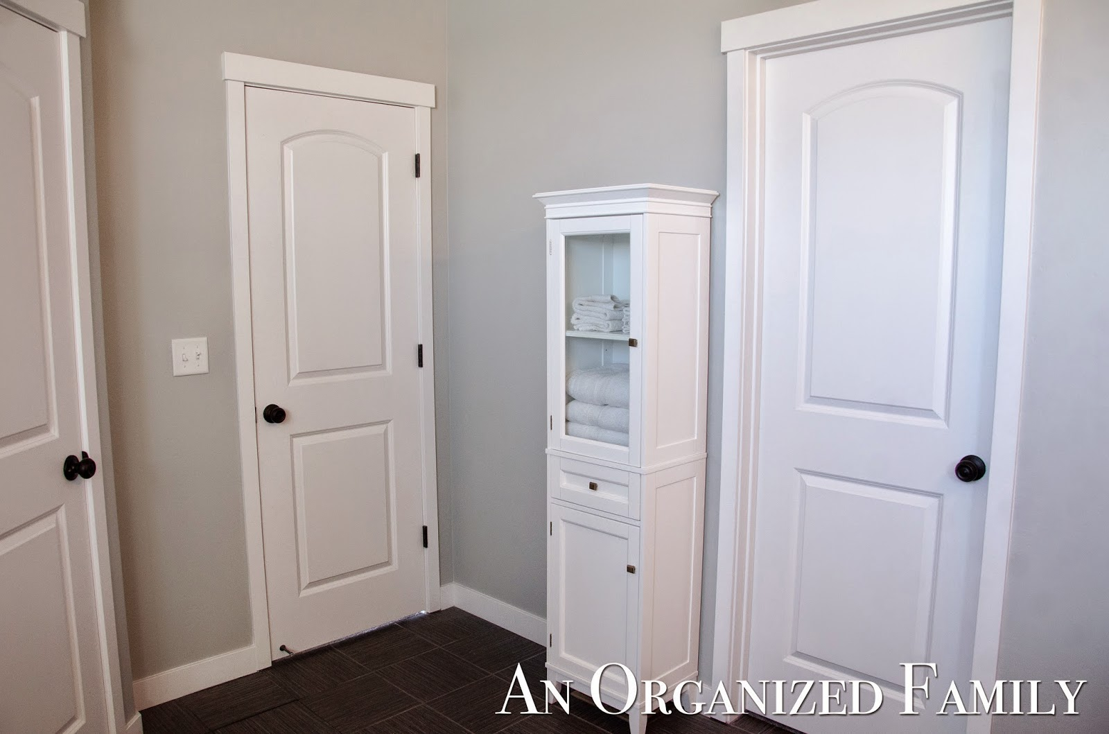 master bathroom update with storage and diy shutters