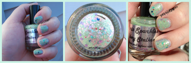 indie Paris Sparkles Celery Stalker nail polish swatches and review