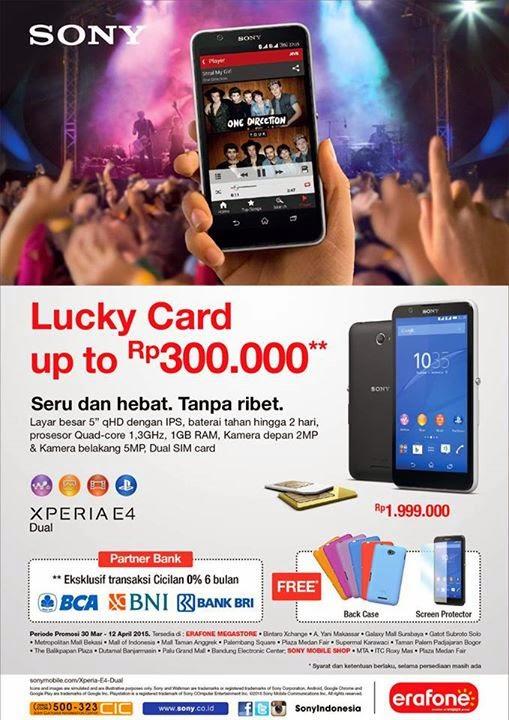 Promo Launching Sony Xperia E4 Dual Cashback Hingga Rp 300 Ribu