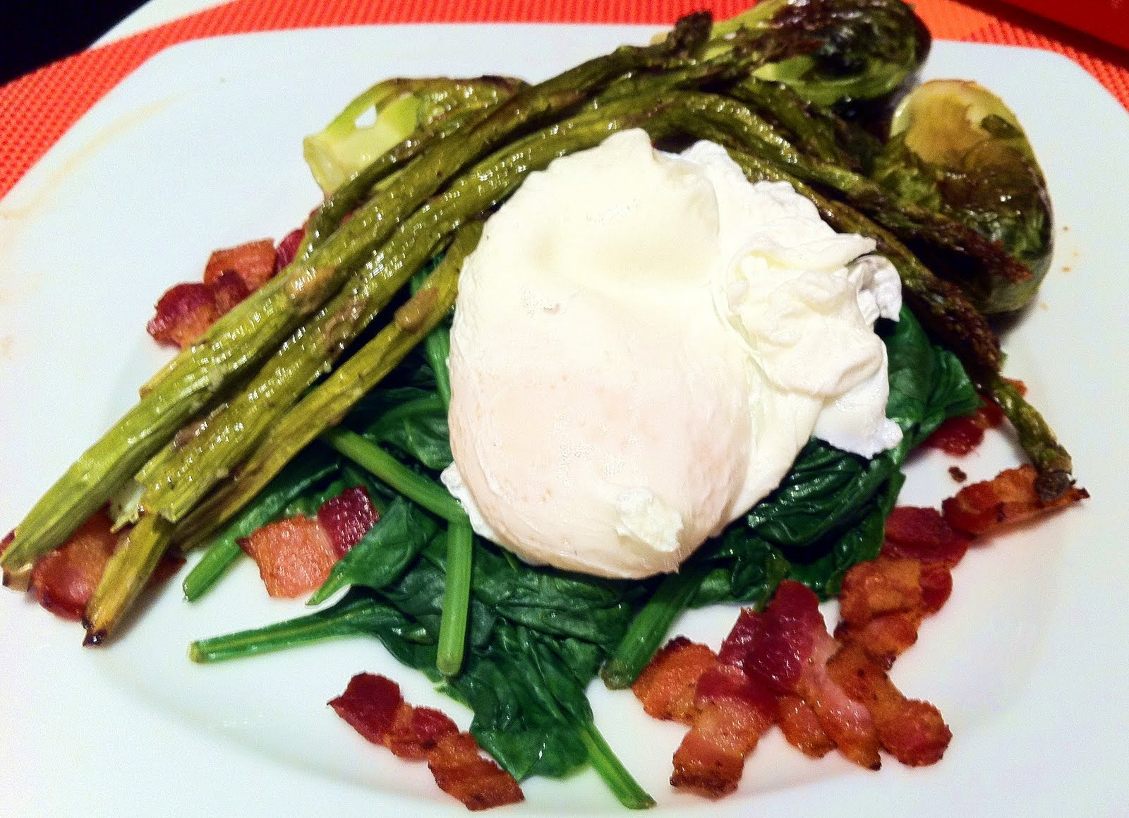 Wilted Spinach, Poached Egg, Crispy Bacon And Roasted Vegetable Salad ...