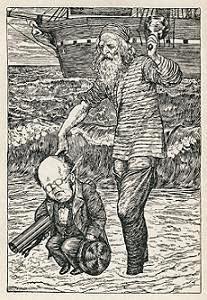 El Capitán salvando al Banquero de las olas, ensortijando un dedo en el cabello (La Caza del Snark)