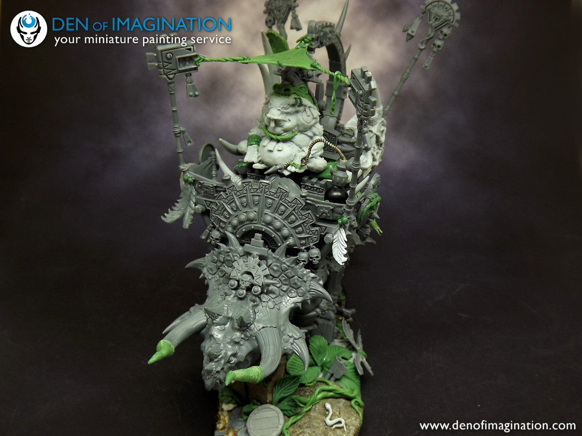 Now this is a killer, Damn I do love this conversion. It has everything.  Kick ass Disnosaur monster, awesome mega mage, sage guy, some cool skink  servants, ...