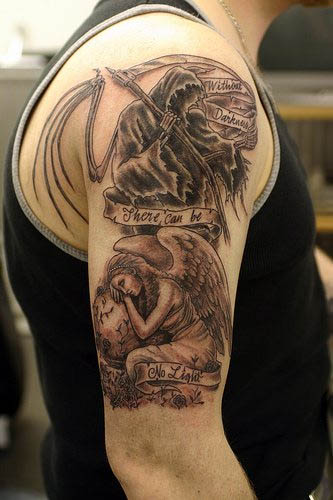 cool angel tattoo for men