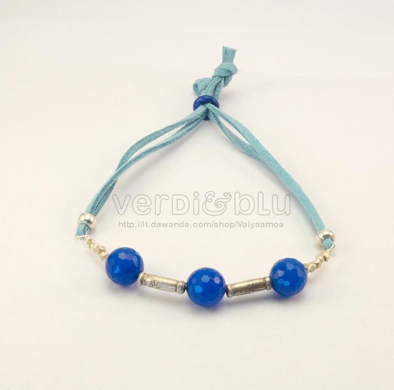 bracciale agata blu e argento