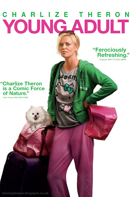 Charlize Theron in Young Adult - Movie Poster looking rough with a dog in a bag