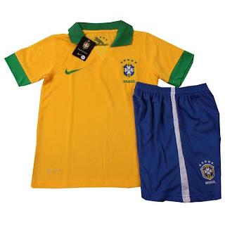 Kids Jersey Brazil Home 2013