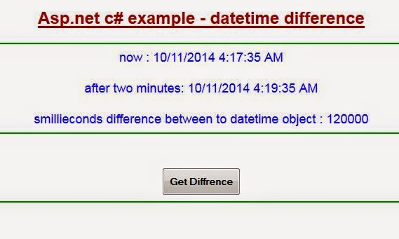 Find datetime difference in asp.net by C#