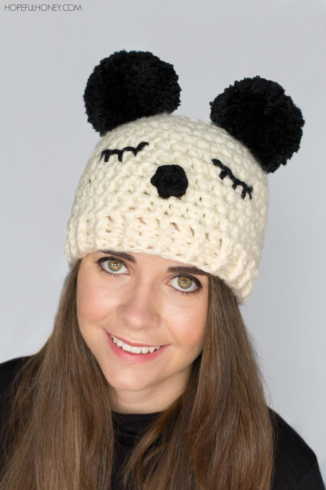 Hopeful Honey Craft, Crochet, Create: Panda Pompom Hat ...
