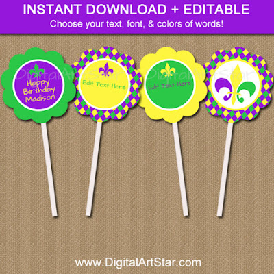 Printable Mardi Gras Cupcake Toppers in Purple, Green, Yellow with Editable Text