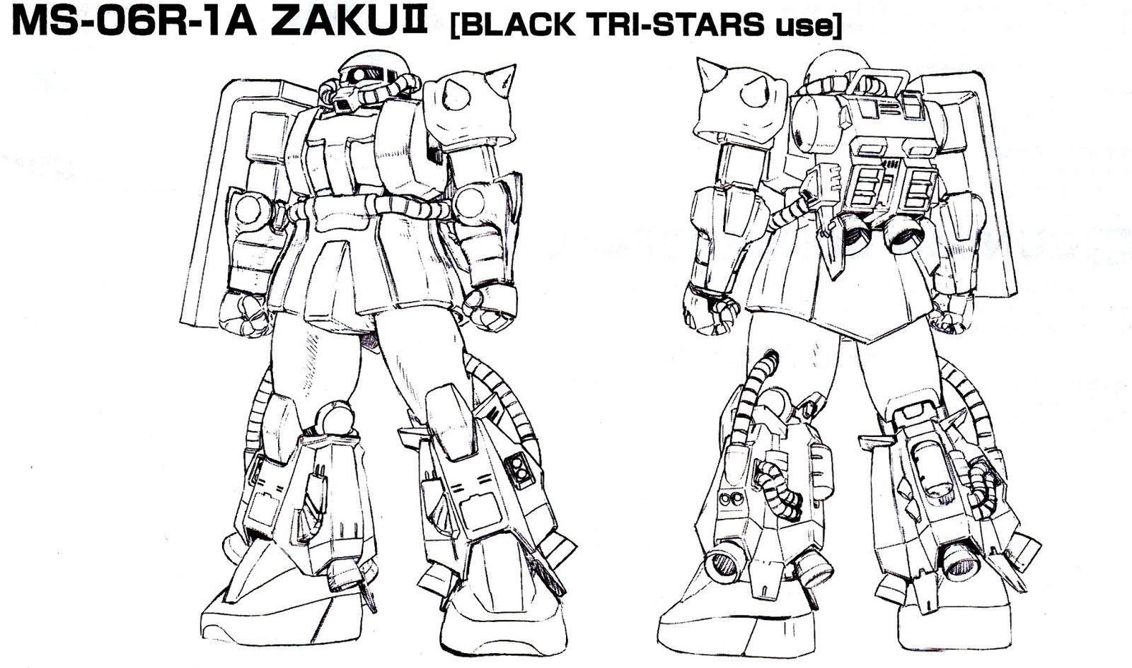 Zaku Lineart : Gundam guy hguc ms r zaku ii black tri star ver