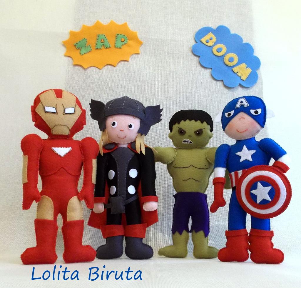 Homem de ferro, Thor, Hulk e Capitáo America em feltro