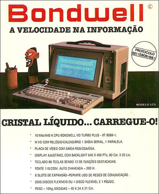Computador Bondwell - diretamente de 1988: 10 Mhz de velocidade.