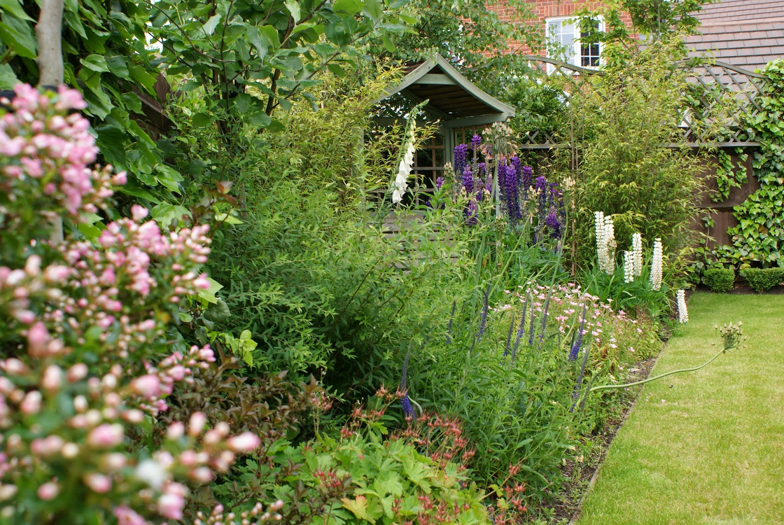 Traditional garden design with flower borders Gardners Gardens